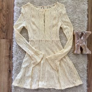 Free People Lace Shearling Dress | Long Sleeves